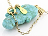 Green Chilean Turquoise 18k Yellow Gold Over Sterling Silver Pendant With Chain