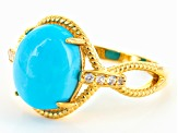 Turquoise Sleeping Beauty 18k Gold Over Silver Ring .11ctw