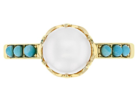 Turquoise Sleeping Beauty 18k gold over Silver Ring