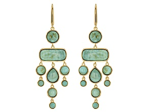 Green Kingman Turquoise 18k Yellow Gold Over Sterling Silver Earrings