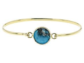 Blue Kingman Turquoise 18k Yellow Gold Over Sterling Silver Bracelet