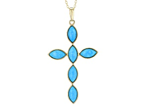Turquoise Sleeping Beauty 18k Gold Over Silver Pendant With Chain