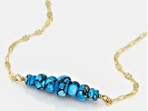 Blue Turquoise 18k Yellow Gold Over Sterling Silver Necklace