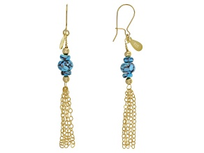 Blue Arizona Turquoise 18k Yellow Gold Over Sterling Silver Earrings
