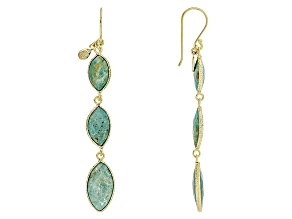 Turquoise Kingman Green 18k Gold Over Silver Earrings