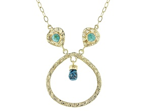 Turquoise Kingman Green And Blue 18k Gold Over Silver Necklace