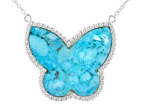 Turquoise Arizona Blue Sterling Silver Butterfly Necklace