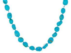 Sleeping Beauty Turquoise 18k Yellow Gold Over Sterling Silver Necklace