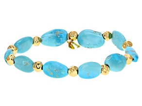 Blue Sleeping Beauty Turquoise 18k Yellow Gold Over Sterling Silver Bracelet