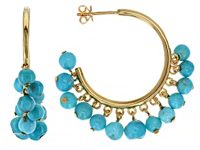 Sleeping Beauty Turquoise Nugget 18k Gold Over Silver Hoop Earrings