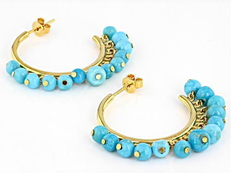 f7ca98b659955 Sleeping Beauty Turquoise Nugget 18k Gold Over Silver Hoop Earrings