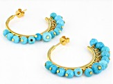 Sleeping Beauty Turquoise 18k Gold Over Silver Hoop Earrings