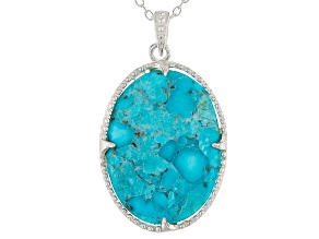 Turquoise Arizona Silver Pendant With Chain