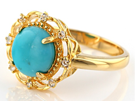 Turquoise Sleeping Beauty 18k Gold Over Silver Ring .005ctw