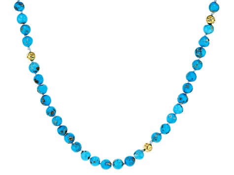 Turquoise Sleeping Beauty 18k Gold Over Sterling Silver Necklace