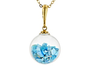 Turquoise Kingman 18k Gold Over Silver Enhancer With Chain
