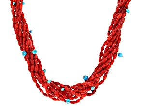 Red Coral 18k Gold Over Silver Necklace