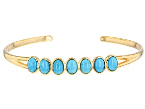 Turquoise Sleeping Beauty 18k Gold Over Silver Cuff Bracelet