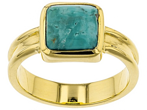 Turquoise Green Kingman 18k Gold Over Silver Ring
