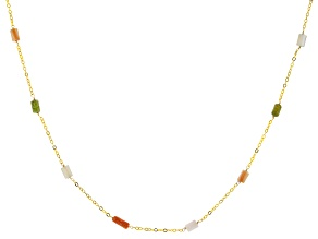 Turquoise Green 18k Gold Over Silver Necklace