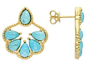 Blue Sleeping Beauty  Turquoise 18k Yellow Gold Over Sterling Silver Earrings