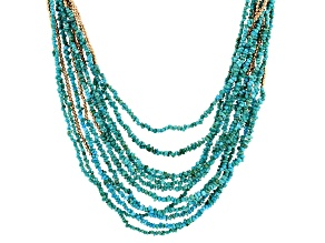 Turquoise Kingman 18k Gold Over Sterling Sliver Necklace