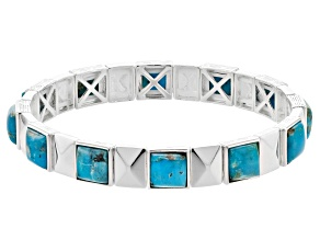 Turquoise Blue Kingman Silver Stretch Bracelet