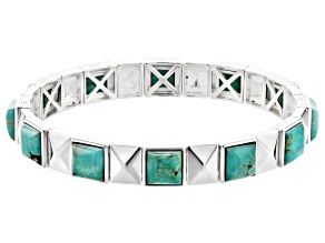 Turquoise Green Kingman Silver Stretch Bracelet