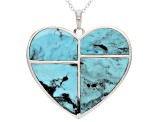 Turquoise Inlay Sterling Silver Heart Pendant With Chain