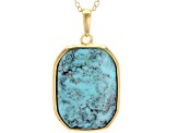 Turquoise Kingman 18k Gold Over Silver Pendant With Chain