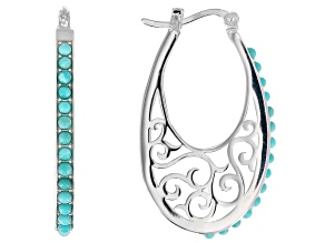 Blue Turquoise Sterling Silver Hoop Earrings