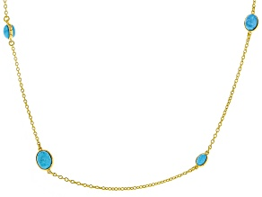 Turquoise 18k Yellow Gold Over Sterling Silver Necklace.