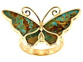 Turquoise Kingman 18K Gold Over Silver Butterfly Ring