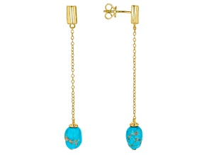 Turquoise Sleeping Beauty 18k Yellow Gold Over Silver Earrings