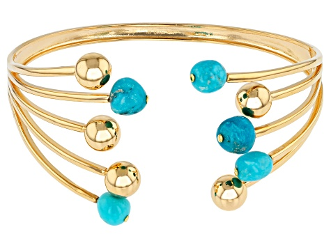 Turquoise Sleeping Beauty 18k yellow gold over silver cuff
