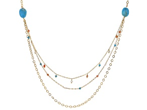 Turquoise 18k Gold Over Silver Necklace