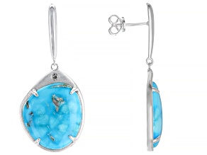 Sleeping Beauty Turquoise Sterling Silver Dangle Earrings .04ctw