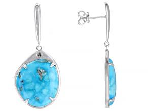 Sleeping Beauty Turquoise Sterling Silver Dangle Earrings 0.04ctw