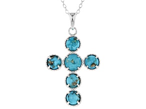 Turquoise Sleeping Beauty Silver Cross Pendant With Chain