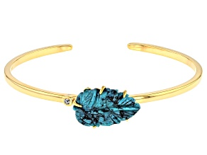 Turquoise Kingman Leaf 18K Gold Over Silver Cuff  .16ct
