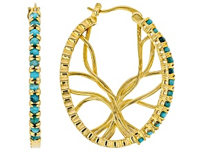 Blue Kingman Turquoise 18k Gold Over  Silver Hoop Earrings