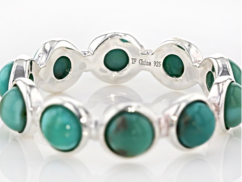 Green Kingman Turquoise Silver Eternity Band