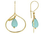 Turquoise Sleeping Beauty 18k Yellow Gold Over Sterling Silver Earrings