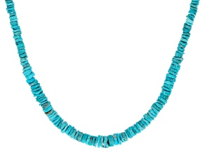 Sleeping Beauty Turquoise Heshi Bead Silver Necklace