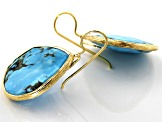 Turquoise Kingman 18k Gold Over Silver Earrings