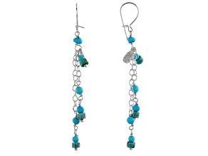 Sleeping Beauty & Kingman Turquoise Silver Dangle Earrings