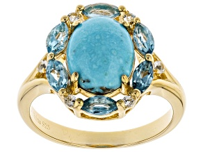 Blue Turquoise 18k Yellow Gold Over Silver Ring .33ctw