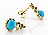Turquoise Sleeping Beauty 18k Gold Over Silver Earrings .12ctw