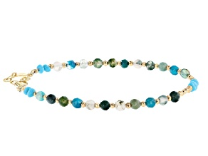 Turquoise Sleeping Beauty 18K Gold Over Silver Bracelet