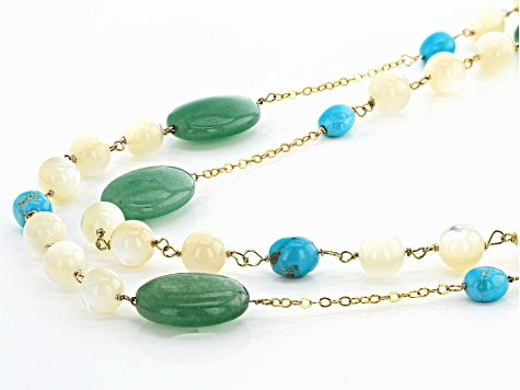 Turquoise Sleeping Beauty 18K Gold Over Silver Necklace